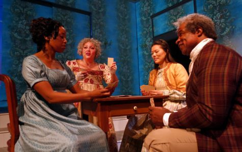From left, Hilary Ward, Abigail Marks, Desireé Mee Jung and Matt Orduña appear in a scene from n South Coast Repertory's production of