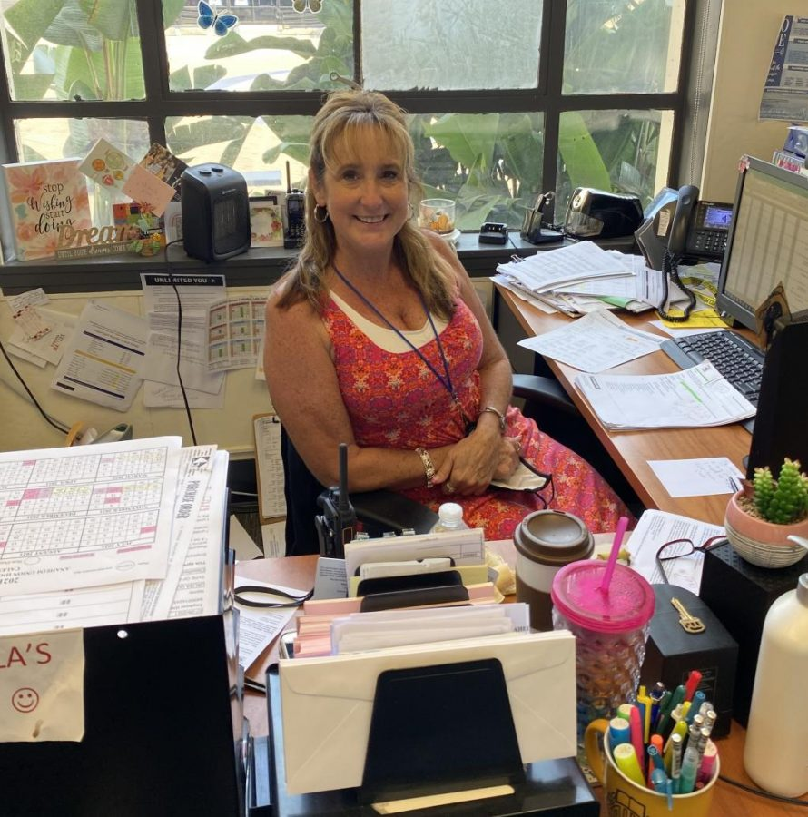 Ms. Deem in the Main Office