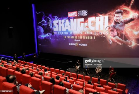 NEW YORK, NEW YORK - AUGUST 30: Awkwafina, Simu Liu, Meng'er Zhang and Fala Chen participate in a Q&A during the Gold House special screening of Marvel Studios Shang-Chi and the Legend of the Ten Rings at Regal Union Square on August 30, 2021 in New York City. (Photo by Michael Loccisano/Getty Images for Disney)Fala Chenz