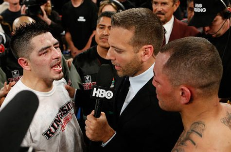 LAS VEGAS, NV - MARCH 30:  Brandon Rios (L) and Mike Alvarado (R) are interviewed by Max Kellerman (center) after their WBO interim junior welterweight championship bout at the Mandalay Bay Events Center on March 30, 2013 in Las Vegas, Nevada. (Photo by Josh Hedges/Getty Images)